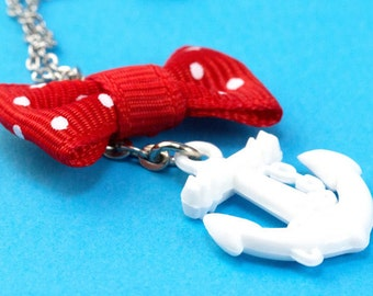 Anchor & Polka Dot Bow Necklace - Red White - Retro 50s Rockabilly and Pin Up
