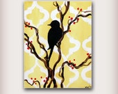 Yellow Bird Painting with moroccan tile shapes....Abstract Modern Art  Painting by HD Greer
