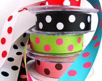 CLEARANCE Ribbons 6 metres x 1 of each double sided Polka Dotty Fun 1inch wide