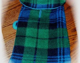 Royal Blue Green PLAID REVERSIBLE wVELCRO Style  Dog Coat w/Harness Opening  xxxs-xxs-xs-s-m-l