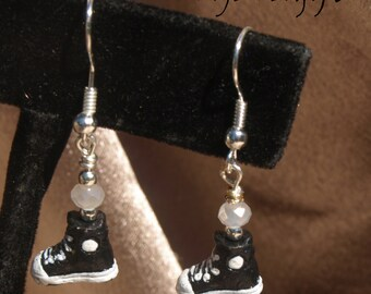 Black and White Hightop Sneaker Earrings 13067