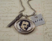 Edgar Allan Poe Charm Necklace - Mixed Media Poe Necklace - Literary Necklace - Book Lover - Author Poet Writer -  Poe Jewelry