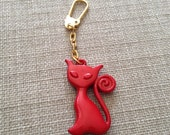 Cute Red Cat Golden Keychain, Cat Key Chain, Red Cat, Cat Ornament, Cat Hanging Decoration, Gift for Cat Lover, Cute Gift, Cute Keychain