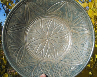 Serving Bowl in Green with Hand Carvings Inside - Visit shop for more Handmade Pottery