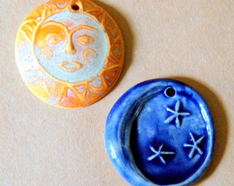 2 Handmade Ceramic Beads - Golden Sun and Deep Blue Moon