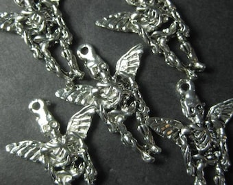 Day of the dead angel charms x 5 destash silver