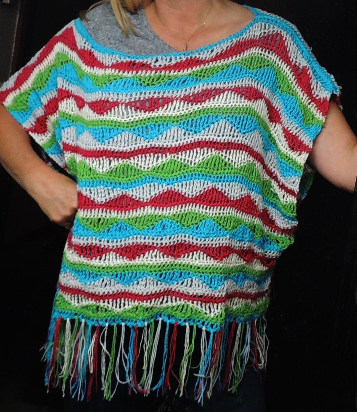 Crochet Xxl Patterns : PDF Crochet Pattern for Multi Colored Poncho Top sizes XS-XXL