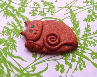 Polymer Clay green eyed Bronze Sleeping Cat Brooch or Magnet