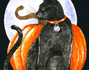 Black Cat Halloween Fantasy Feline Art Matted Print Orange Pumpkin Full Blue Moon Pen and Ink Watercolour Illustration