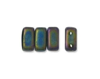 50 Czech 3 x 6mm Brick Beads MATTE IRIS GREEN 915767