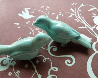 Wedding Cake Topper  Birds Vintage Ceramic in Aqua Home Decor