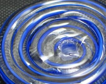 "Handmade Lampwork Glass Beads supplies, filler focal disc disk ""4th of July"" art for jewelry button"