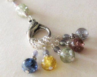 5 Knit or Crochet Stitch Markers with Holder - Russian Summer