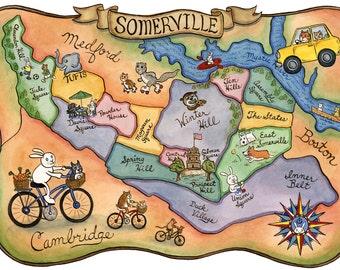"Somerville Massachusetts Map Art Print 11"" x14"""