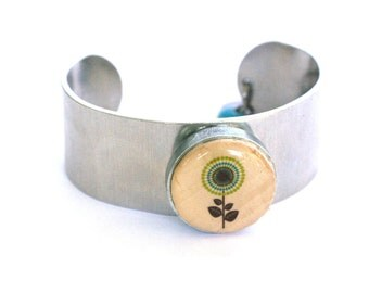 Flower Metal Cuff - Blue Flower Jewelry - Flower Bracelet - Wine Cork Jewelry - Cuff Bracelet - Recycled Jewelry - Nature Gift - Uncorked