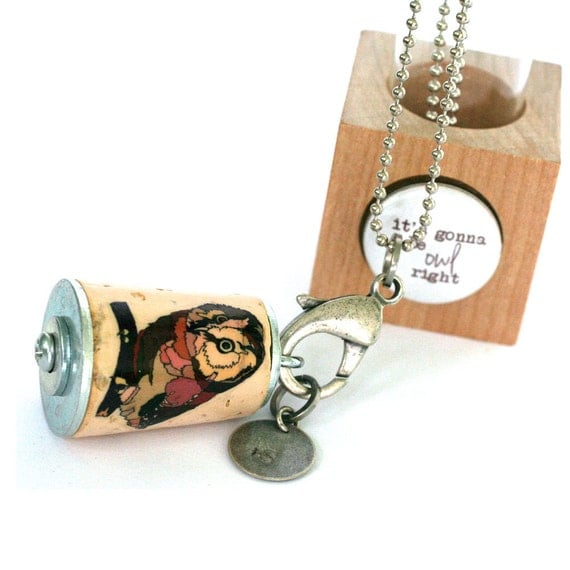Owl Necklace - Owl Jewelry, Nature, Woodland, Bird Necklace, Custom Stamped Initial, Recycled Cork in Test Tube and Cube - Uncorked