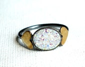 Back by popular demand: Handmade Snow White Drusy / Druzy Sterling Ring with Brass Hearts