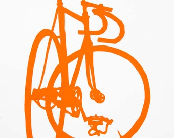 Bicycle Art - Orange Frejus Track Bike Print