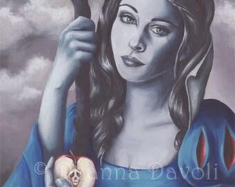 Snow White Art Print Poison Apple Fantasy Art Gothic Art Fairy Tale Art Snow White Portrait Skull Apple 8x10