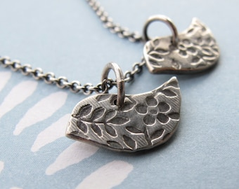two petite birds necklace - handcrafted in sterling silver by modern bird