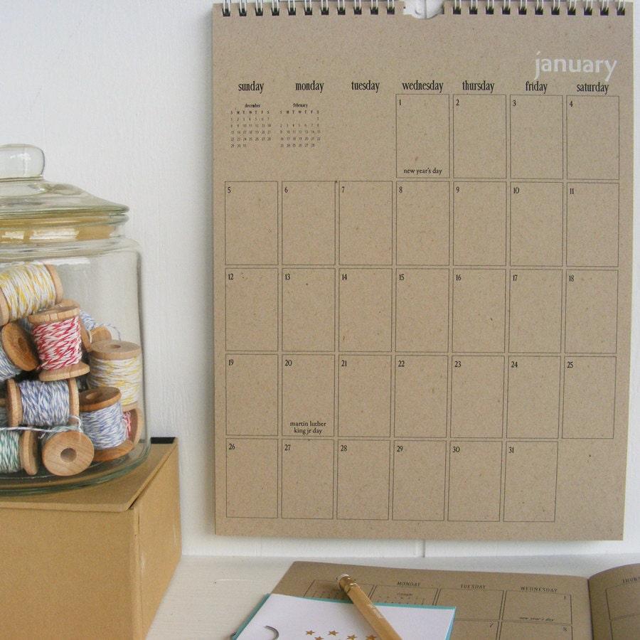 2014 kraft wall calendar large