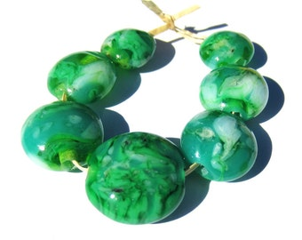 7 Handcrafted Lampwork Glass Beads Mottled Green lentil SRA