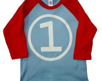 Kids FIRST BIRTHDAY Light Blue + Red Raglan T-shirt