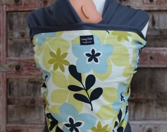 Baby Sling-ORGANIC COTTON Baby Wrap Sling Carrier-Floral Blue on Gray-One Size Fits All-Newborn to Toddler-DvD Included