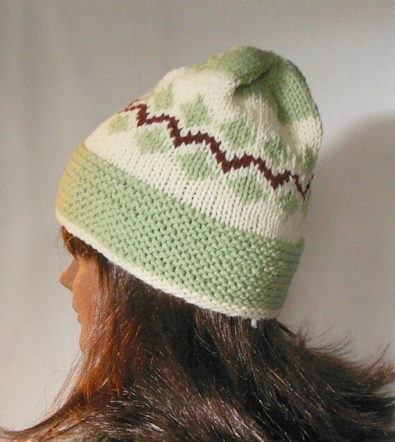 Hand knit hat Fair Isle sage green cranberry red skullcap beanie watch cap womens mens teens toque ski cap