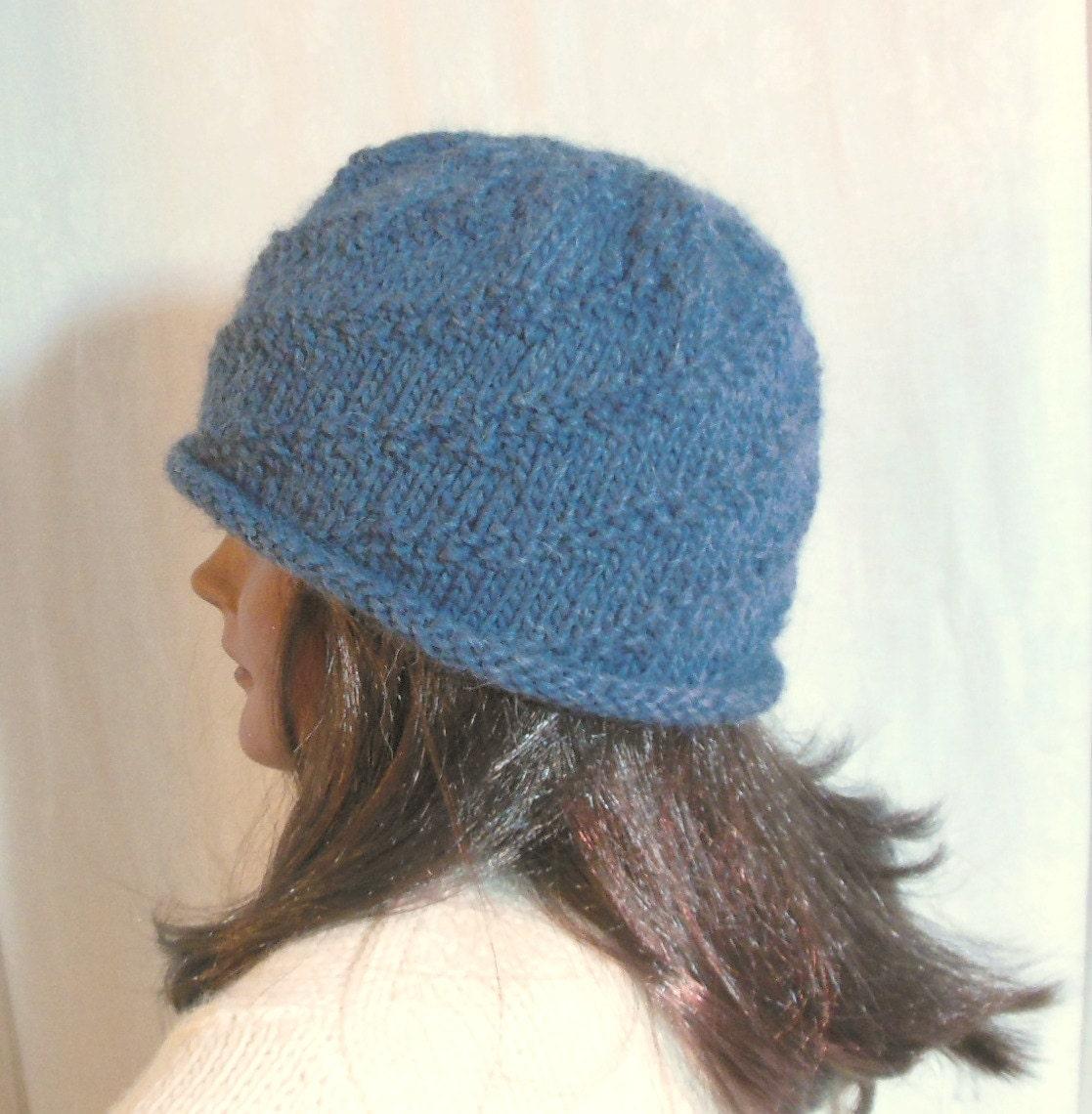 Knitting Pattern Swirl Hat : Hand knit beanie hat textured blue swirl wool ski cap watch