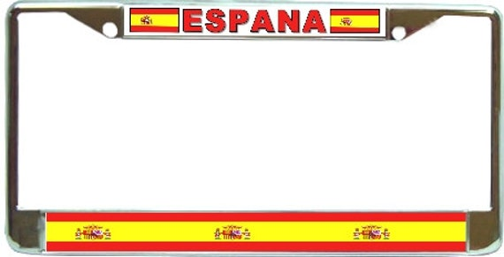 Spain spanish espana flag sx2 metal license plate by blingsity - Steel framing espana ...