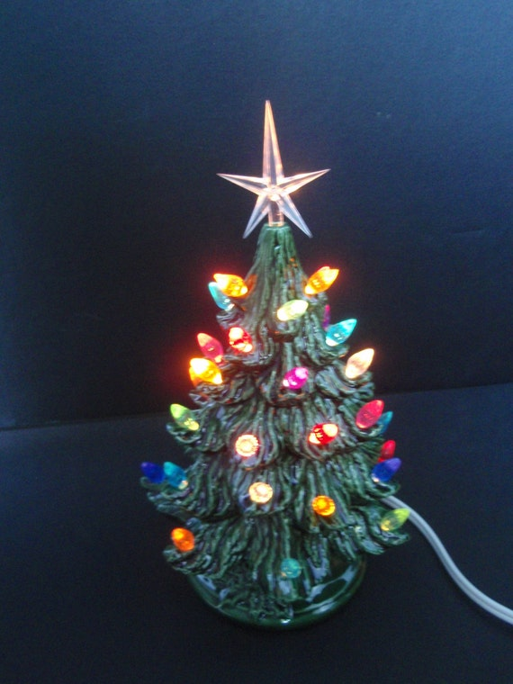 Ceramic Christmas tree lighted with small by TeresasCeramics