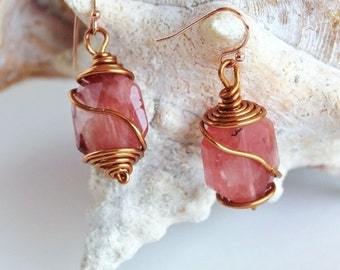 Cherry Quartz Earrings, Copper Earrings, Wire Wrapped, Coral Pink Earrings