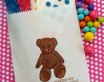 Teddy Bear Candy Bags, Teddy Bear favor bags, Teddy Bear Birthday party, Candy Buffet bags, Birthday party, Sweets, Treat bags