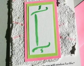 Bat Mitzvah Quote Card or Invitation with Torah motif