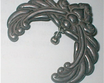 Los Castillo Taxco Sterling Brooch - Large Crescent Mexico Made Sand Cast Silver Jewelry Pin - Vintage 40s