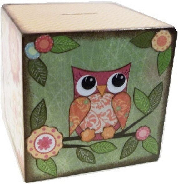 Extra Large Wooden Coin Bank Box Personalized Gift Piggy