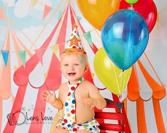 """Circus Backdrop 4ft x 4ft, Vinyl Photography Backdrop, Birthday Party Circus Theme Backdrop, Circus Tents, """"Big Top Circus"""""""