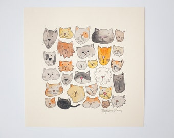 cat lover giclee print meow