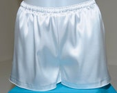 White stretch satin sleep shorts size Med  lingerie casual,bridal, bridesmaids gifts