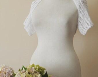 White Cotton Bolero White Cotton Shrug Hand Knit Bridal Shrug Soft Pure Chic Romantic Bolero Wedding shrug