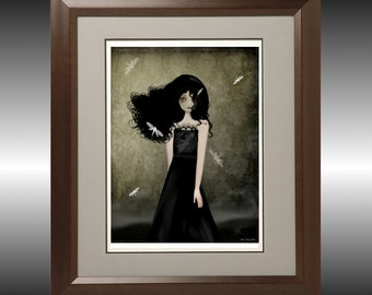 Dark Melancholy Goth Girl Art Print -- The Girl with the Dragonfly Tattoos