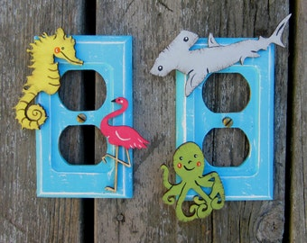 OCEAN SEA CREATURES Kids Outlet Switch Plate Cover - Hand Painted Wood