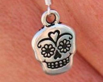 Sale - Clearance Dia De Los Muertos Earrings - Silver  Skull