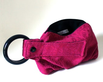 Fuschia Floral Brocade Bracelet Handbag Wristlet