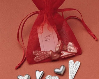 Gift Bag of Love Charms - 5 Pewter Hearts - plain or personalized - Valentine - Valentine's Day - Gift of Love - Love Gifts - Heart Gifts