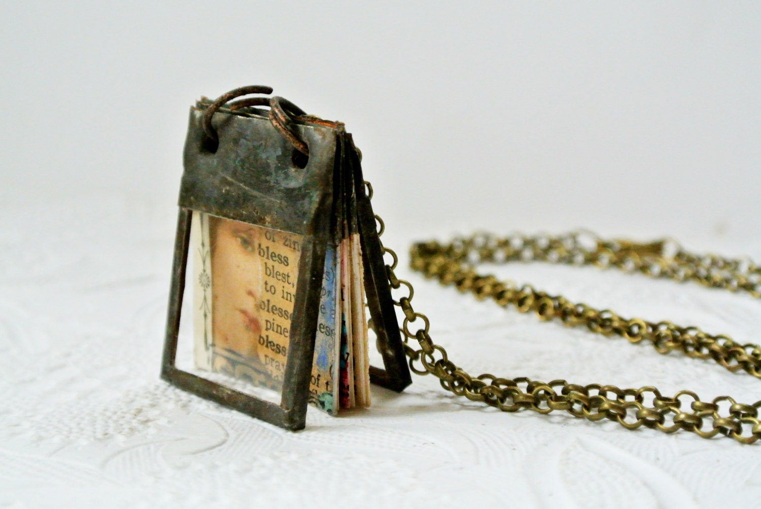 Glass Journal Tiny Journal Book Charm Book Necklace Miniature