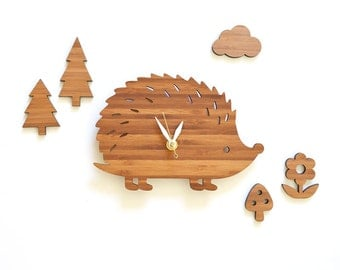 Forest woodland theme eco-friendly wooden hedgehog wall clock and wall art with cloud flower mushroom and trees