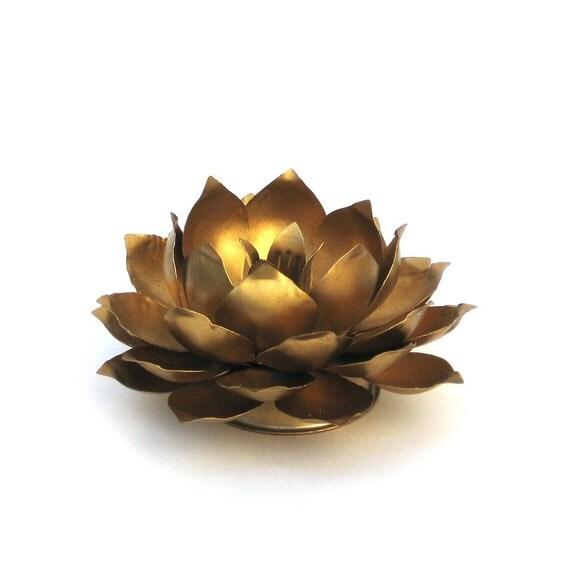 Gold Lotus Candle Holder Hollywood Regency Metal Flower