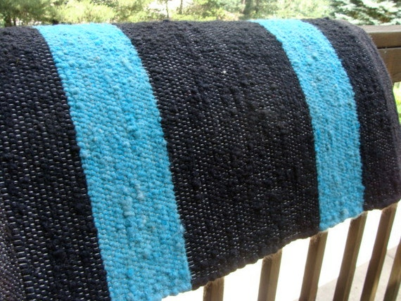 Horse Saddle Blanket Alpaca Natural Black With Hand Dyed Wide